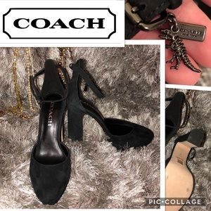 Coach Chrystie A01428 Black Suede Heels T-Rex